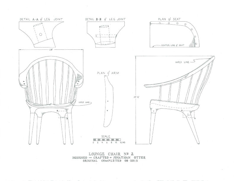 Scaled hand drawing of modern Windsor lounge chair